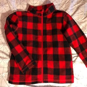 Boys Red and Black Plaid Fleece Zip Up